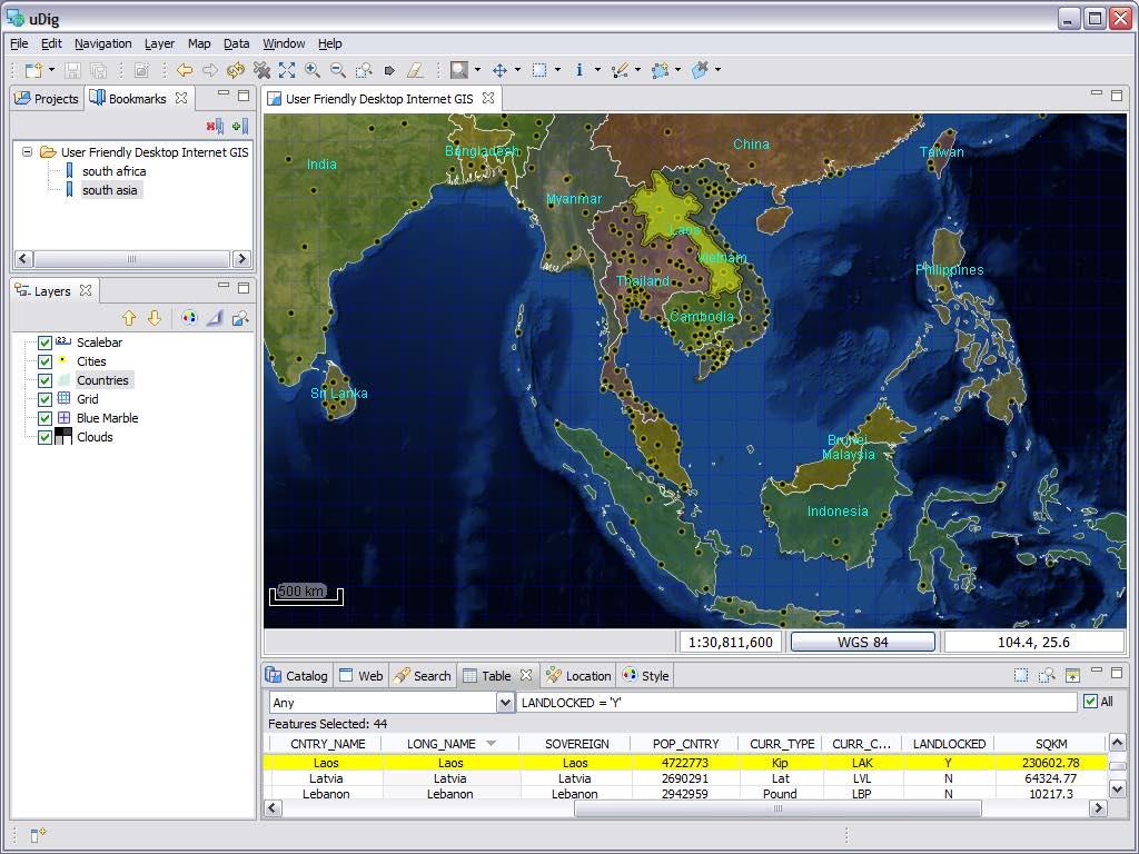 uDig GIS screenshot