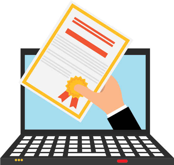 a certificate being handed out of a computer