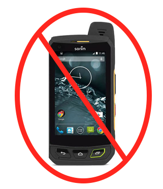 image of crossed out ruggedized cell phone