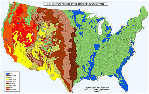 thematic map of soil moisture in the united states