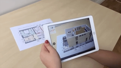 image of AR app on iPad showing a blueprint