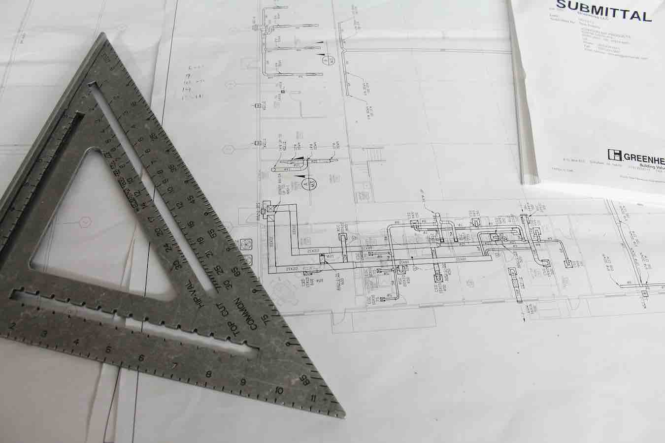 construction drawings with triangle