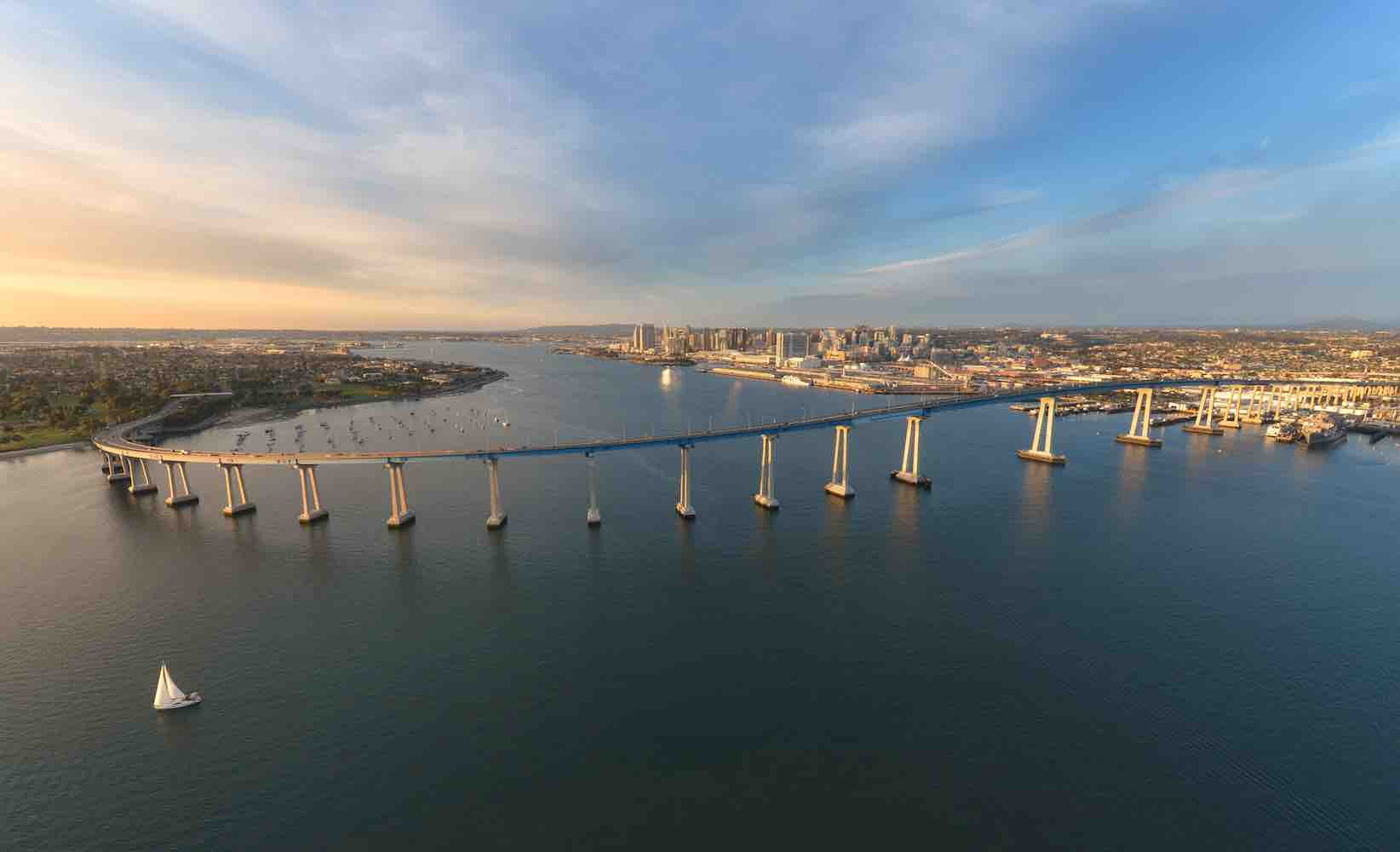 photo of a bridge taken by a drone
