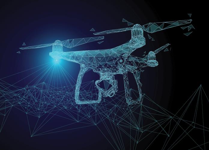 a drone scanning a landscape