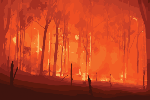 a wildfire destroying everything in its path