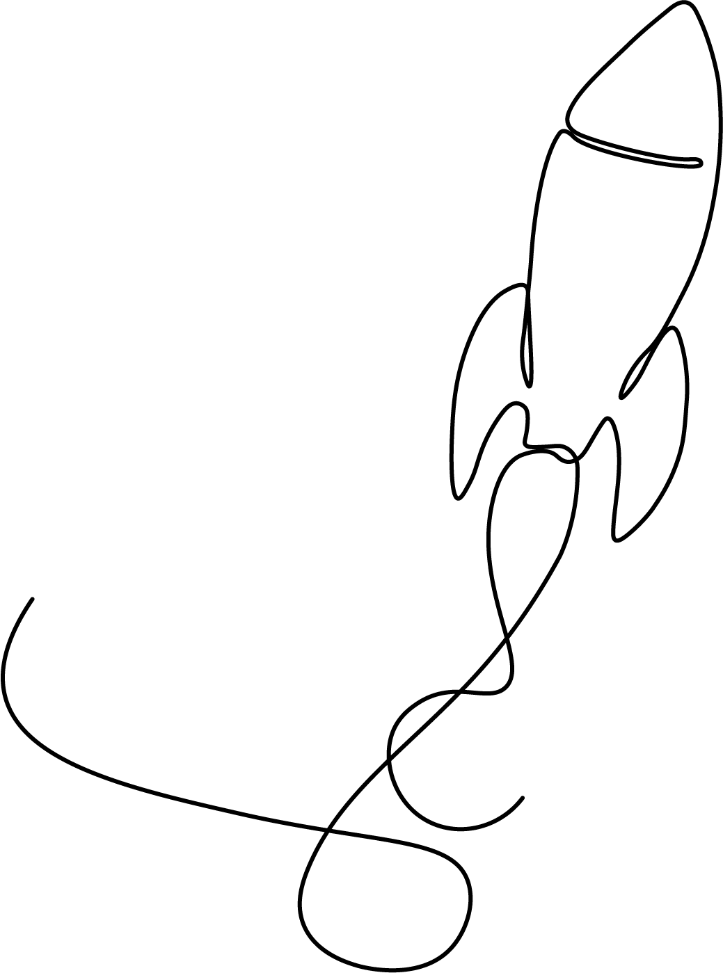Line Art illustration of a rocket.