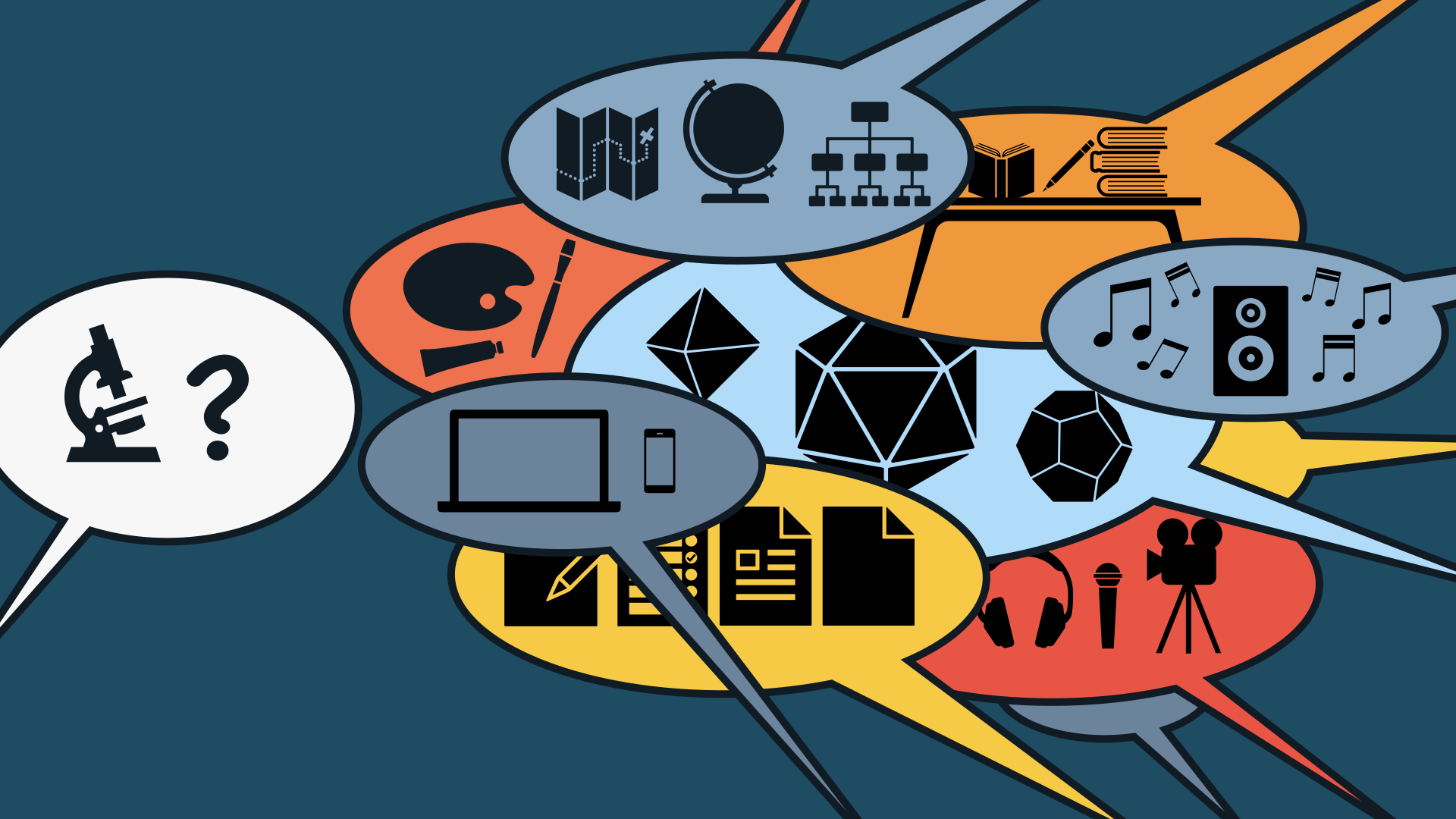 A speech bubble containing a microscope and a question mark on the left side of the frame, and a lot of speech bubbles from the right side of the frame answering with icons of dice, tables, books, documents of multiple types, music, and recording equipment.