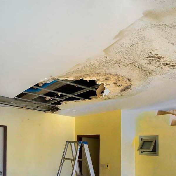 A severe damage to the ceiling of a residence in Costa Mesa.