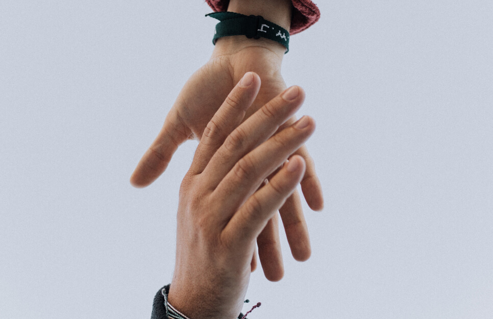 Hands together. Help people.