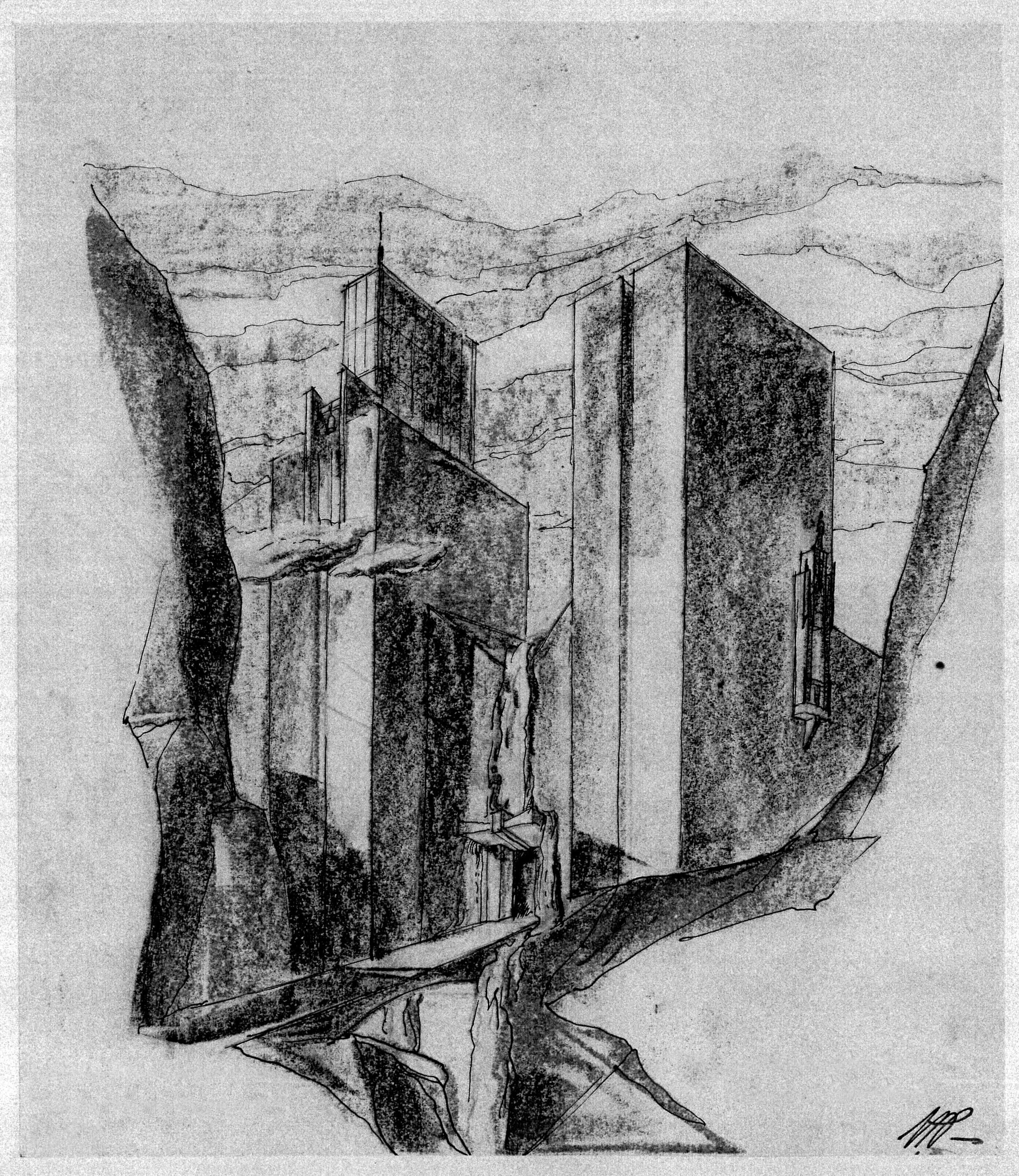 En av Poulssons drømmeaktige skisser til foredrag for sine kolleger i Oslo Arkitekturforening i 1953.