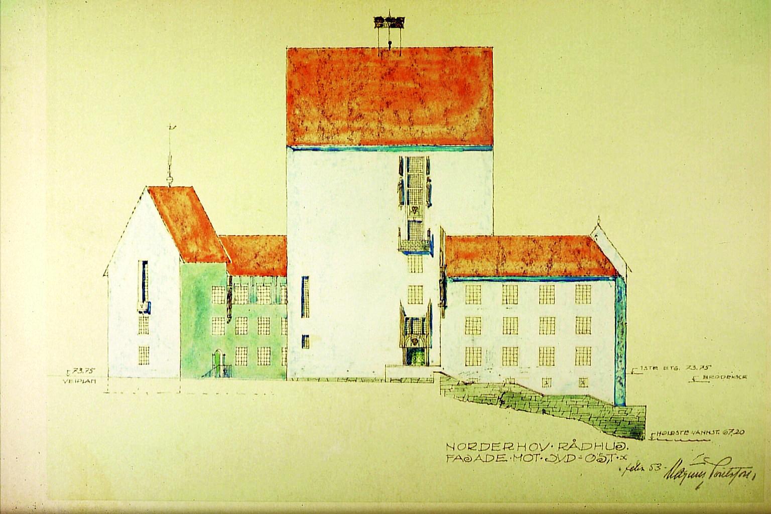 Et av forslagene til Norderhov rådhus ved Hønefoss.