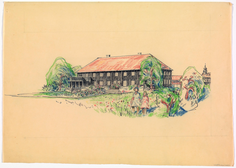 Forslag til nytt våningshus på Kroken gård ved Koppang i Stor-Elvdal.