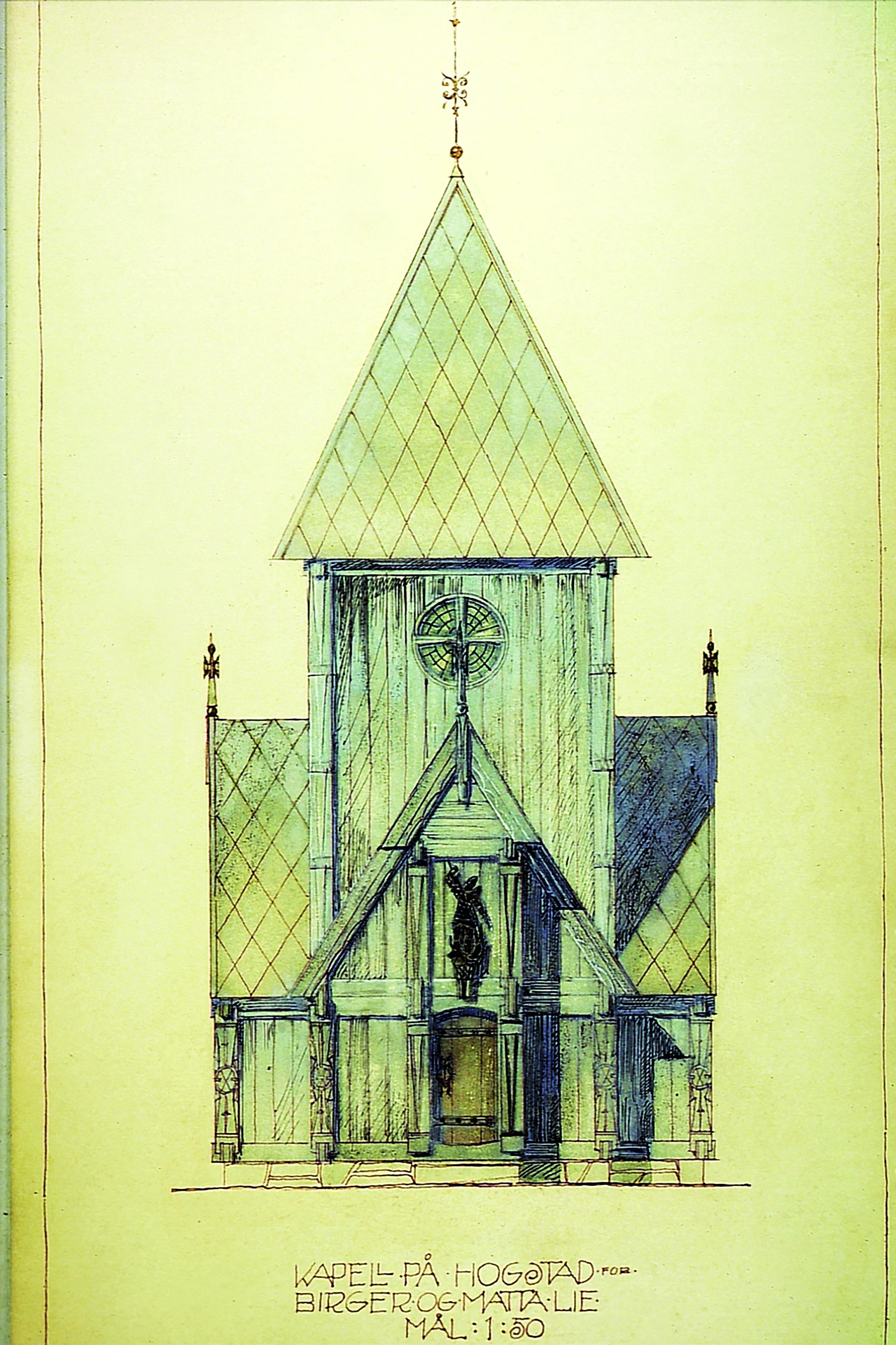 Forslag til kapell på Hogstad gård i Asker for Birger Lie.