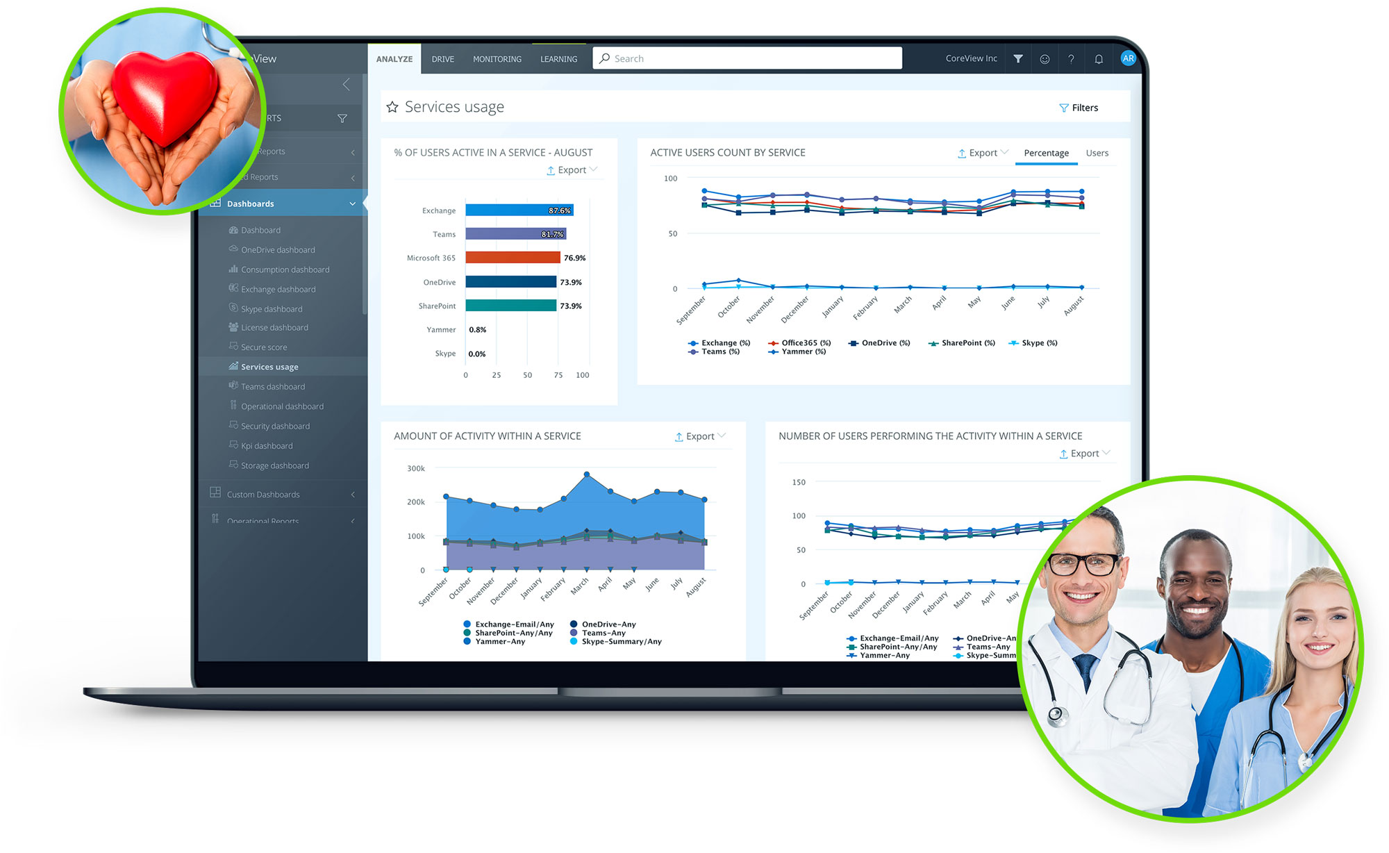 Screenshot of service usage dashboard for healthcare professionals