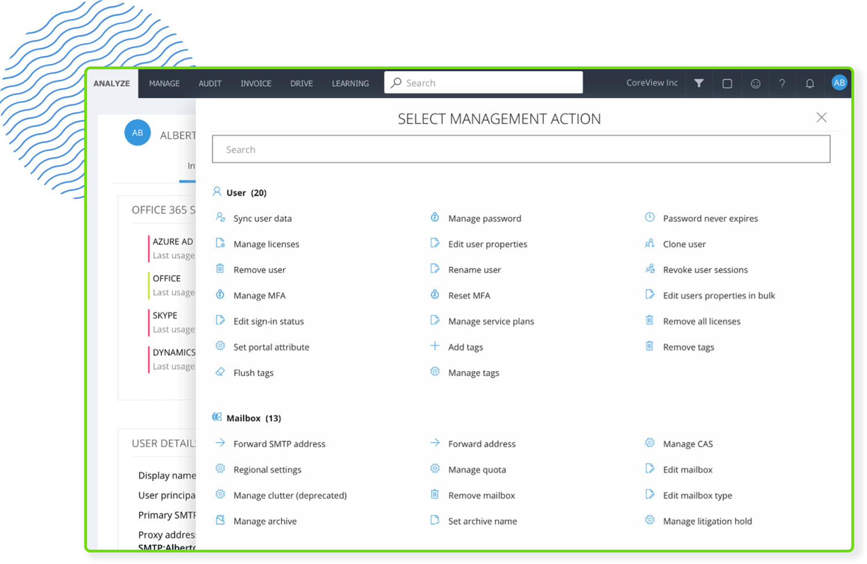 screenshot of select management action