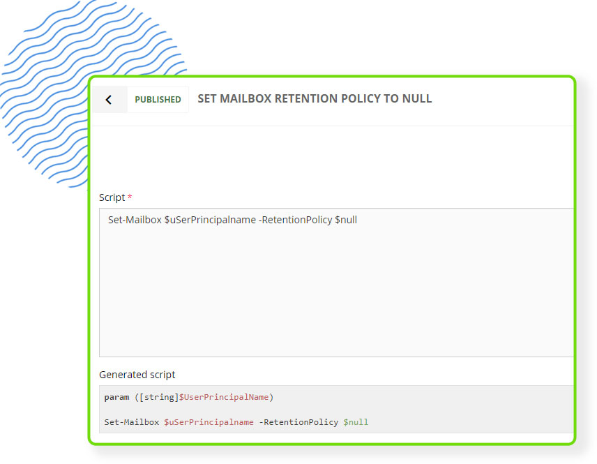 Screenshot of CoreView's workflow functionality