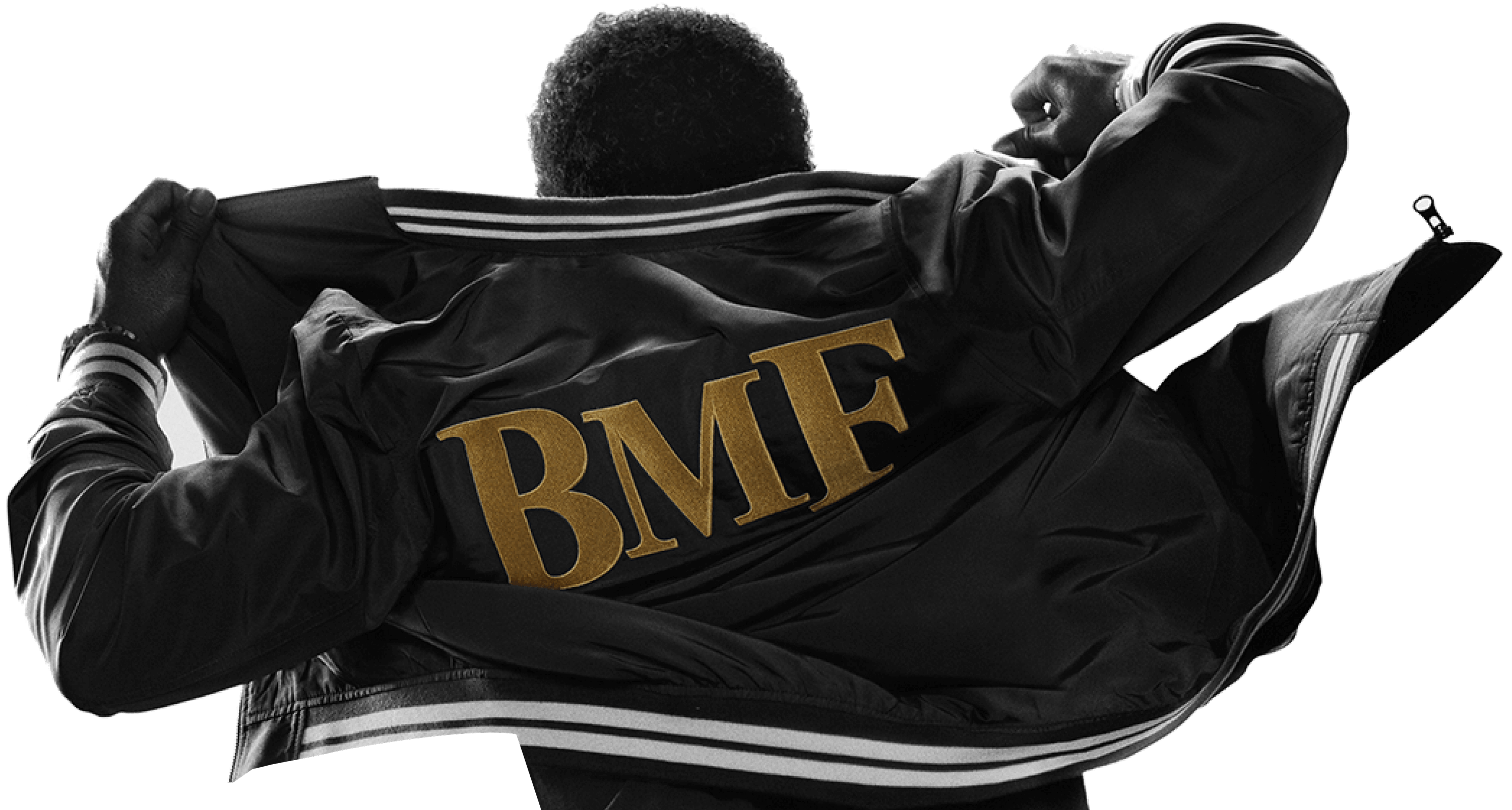 Man wearing jacket with BMF letters on the back