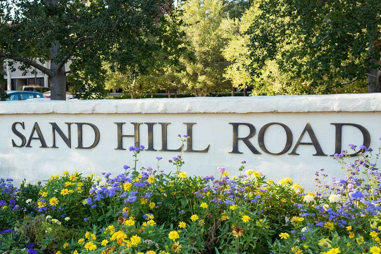 Picture of Sand Hill Road sign in Menlo Park, CA