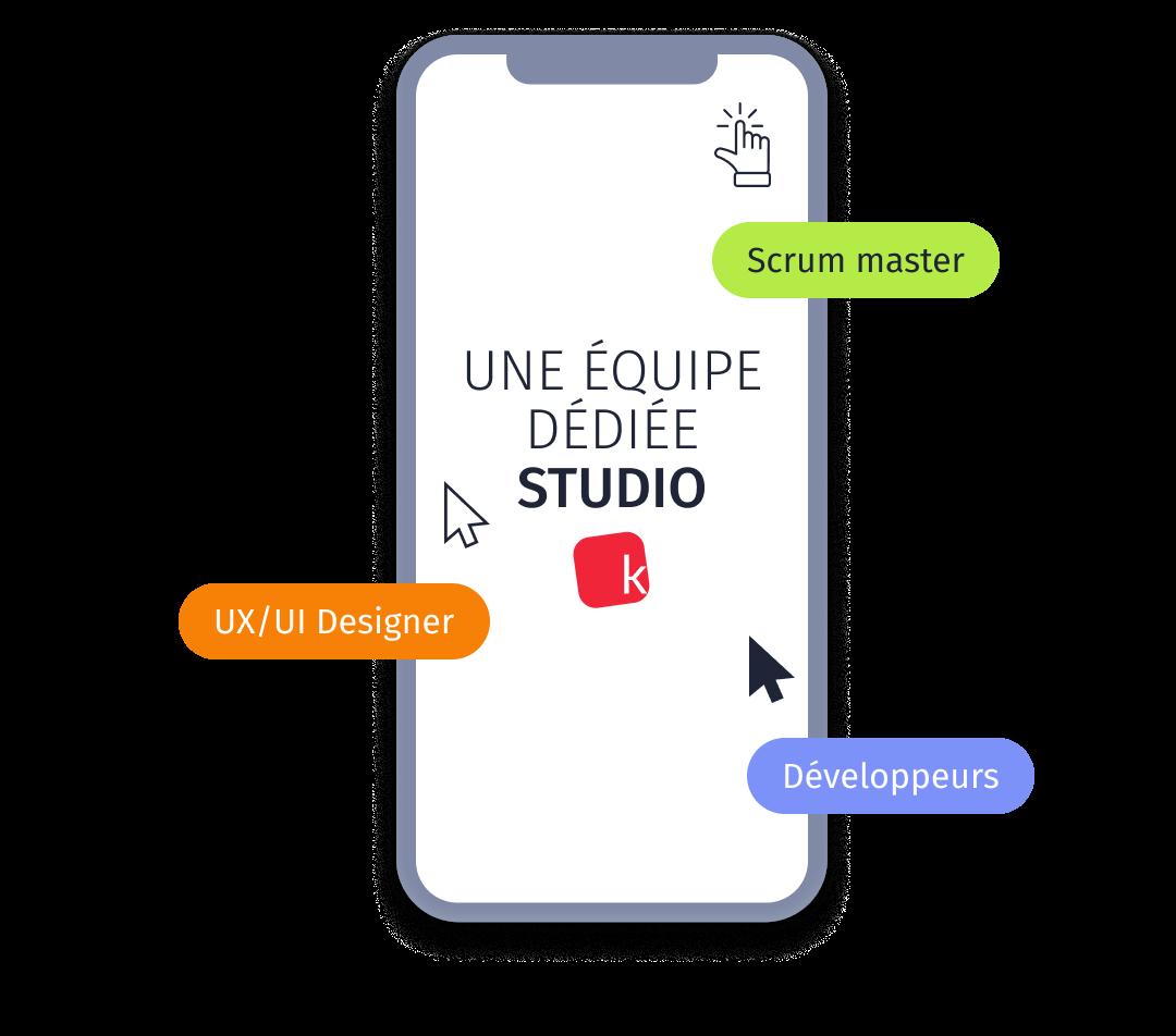 Ecran présentant l'offre Kreactive pour confier la composition et la gestion d'une équipe experte dédiée : scrum master, UX/UI designer, développeurs
