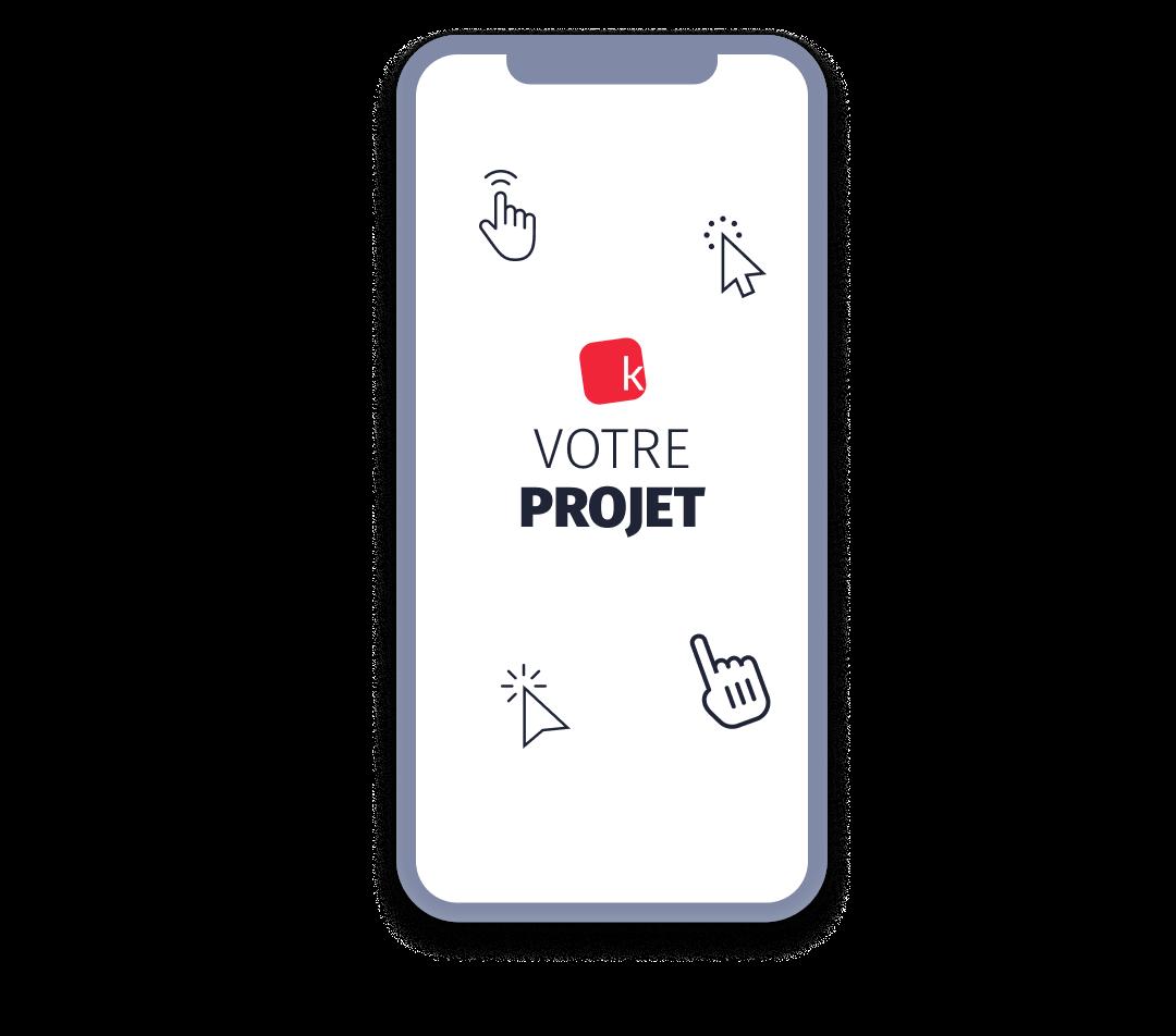 Ecran mobile présentant l'offre Kreactive pour chaque type de projet