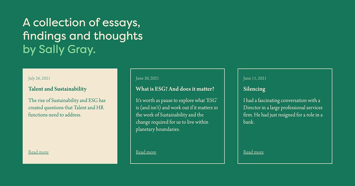 Good Work blog layout example