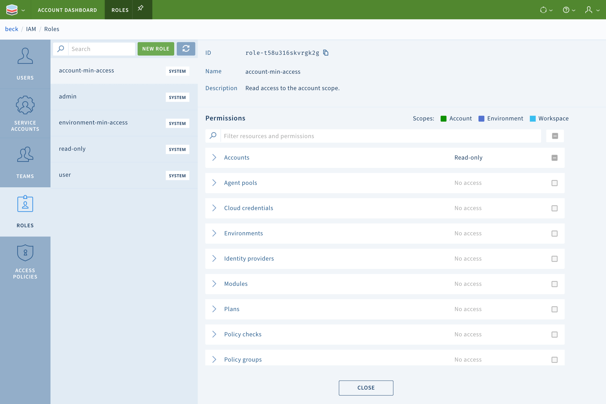 Terraform Service Catalog RBAC
