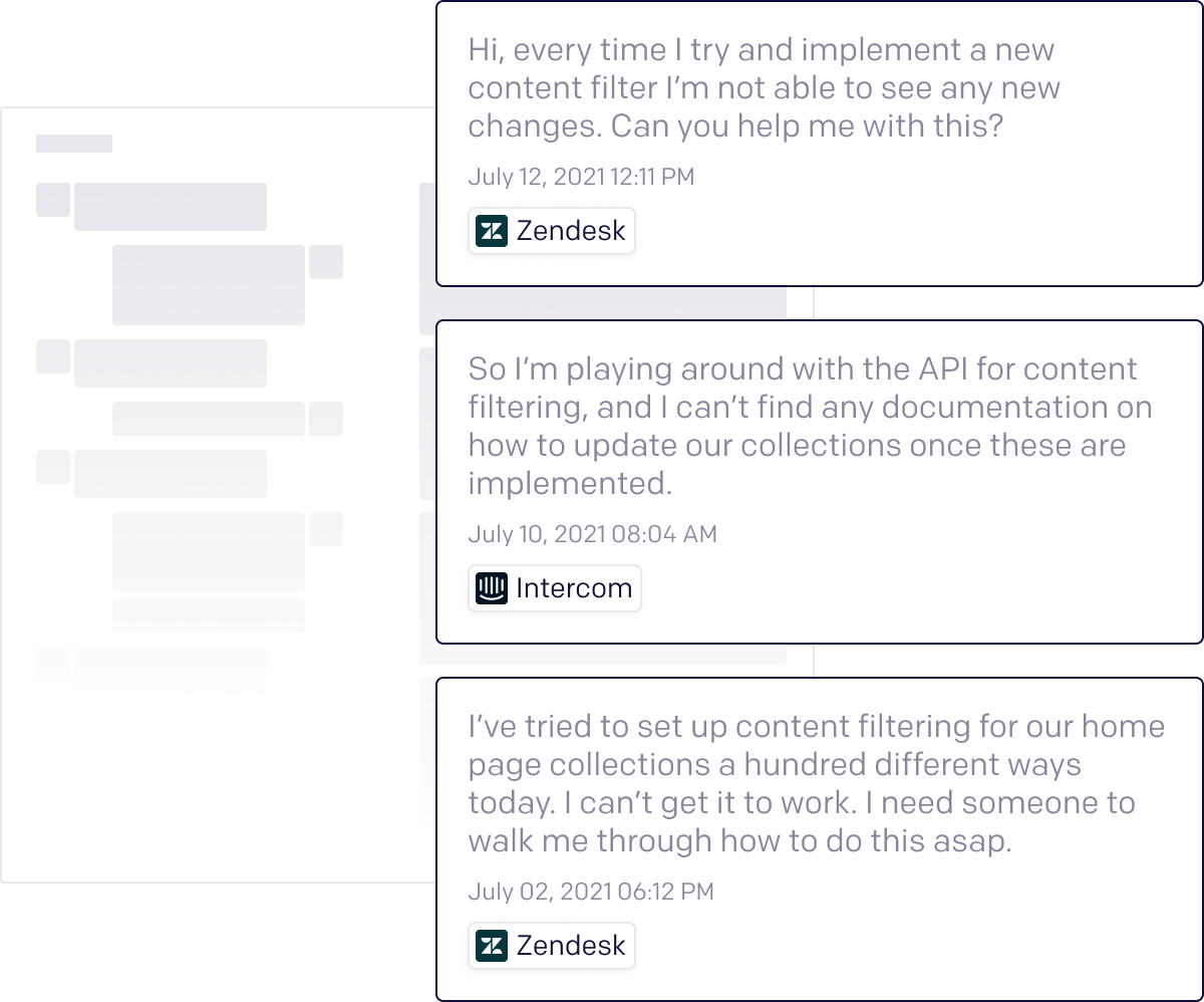 A depiction of how you're able to click into the original source verbatim conversations with customers in Artifact.