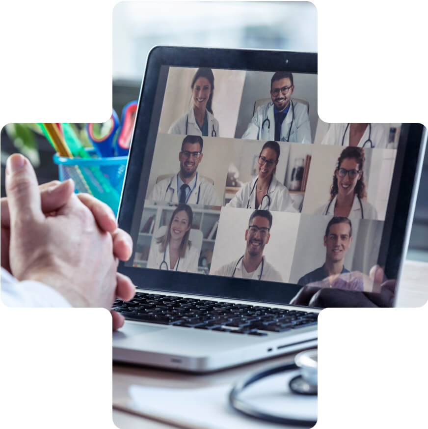 A video conference of doctors on a compute screen