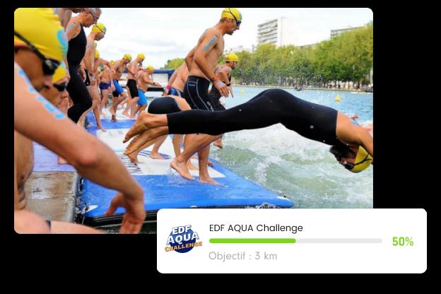 photo de l'EDF aqua challenge avec une bannière de progression de notre challenge EDF aqua challenge