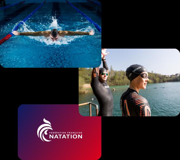 1 image d'une personne faisant du papillon dans une piscine couverte suivi d'une photo de 2 personnes en tenant de nage en haut libre au bord un lac et le logo de la FFN
