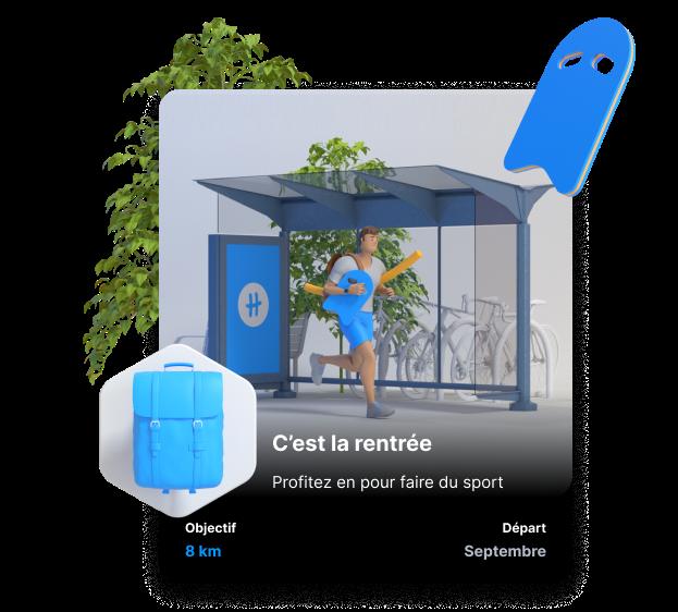 image 3D d'une card de challenge natation avec un sac à dos dans le badge, une planche flottante sur le côté et un arbre en arrière plan