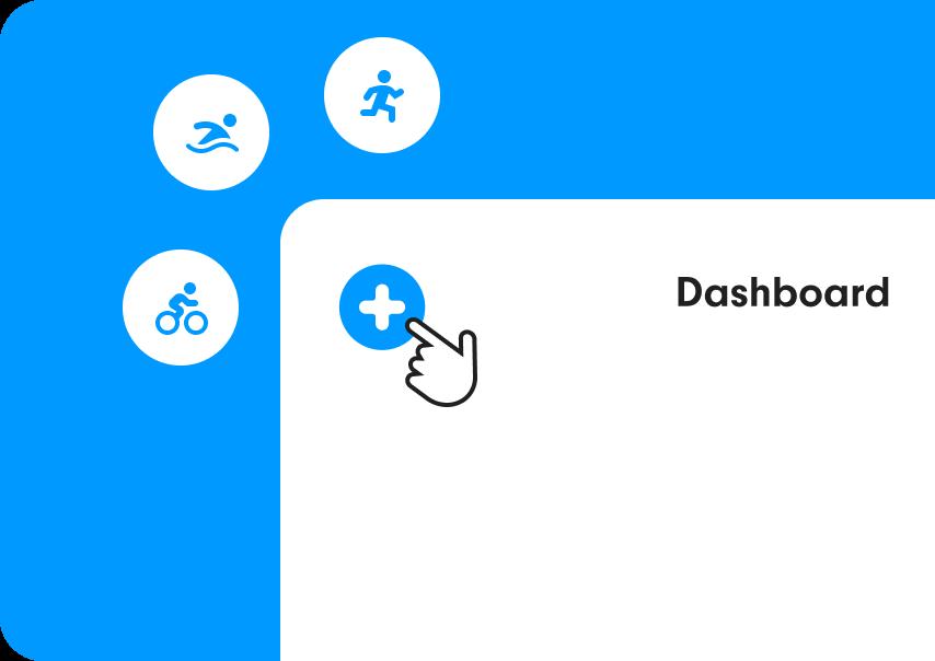 image du dashboard de l'application swimming heroes avec l'ajout des activités