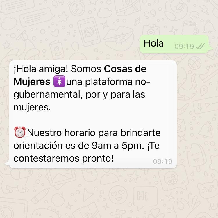 Cosas de Mujeres Whatsapp Helpdesk screen. Introduction.
