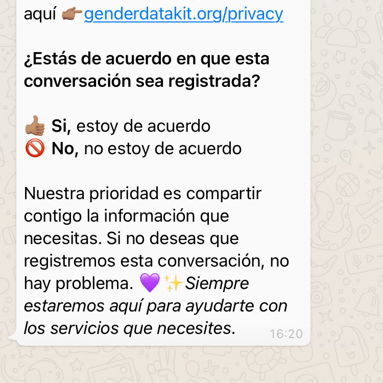 Cosas de Mujeres Whatsapp Helpdesk screen. Consent messaging and link to privacy.