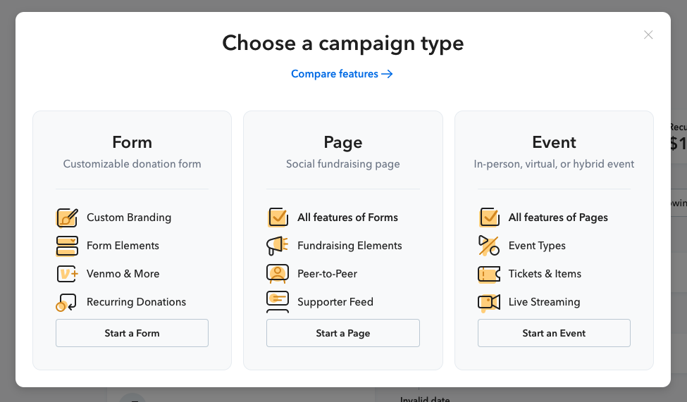 Choose a campaign type: Form, Page, Event