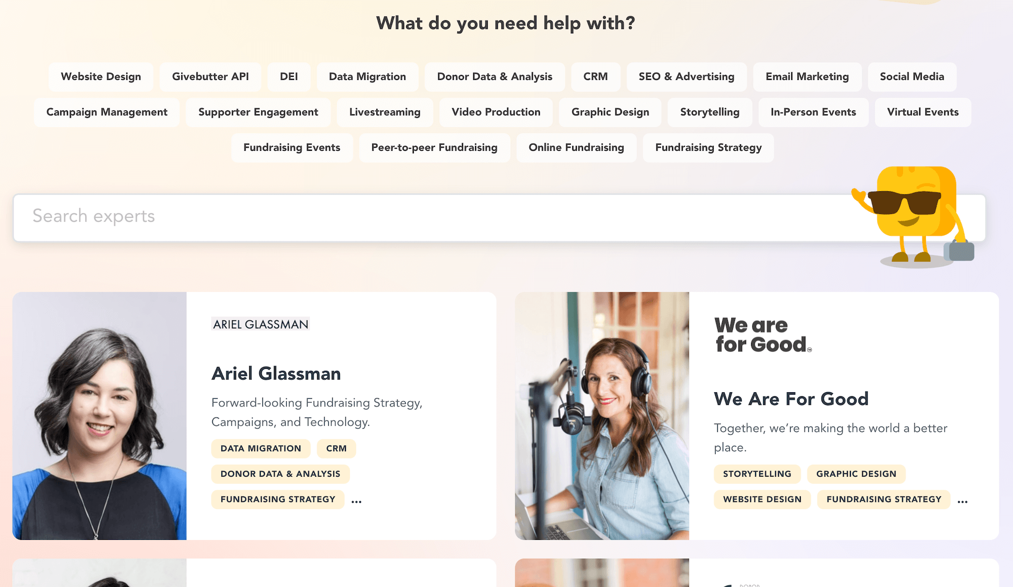 Givebutter Experts landing page