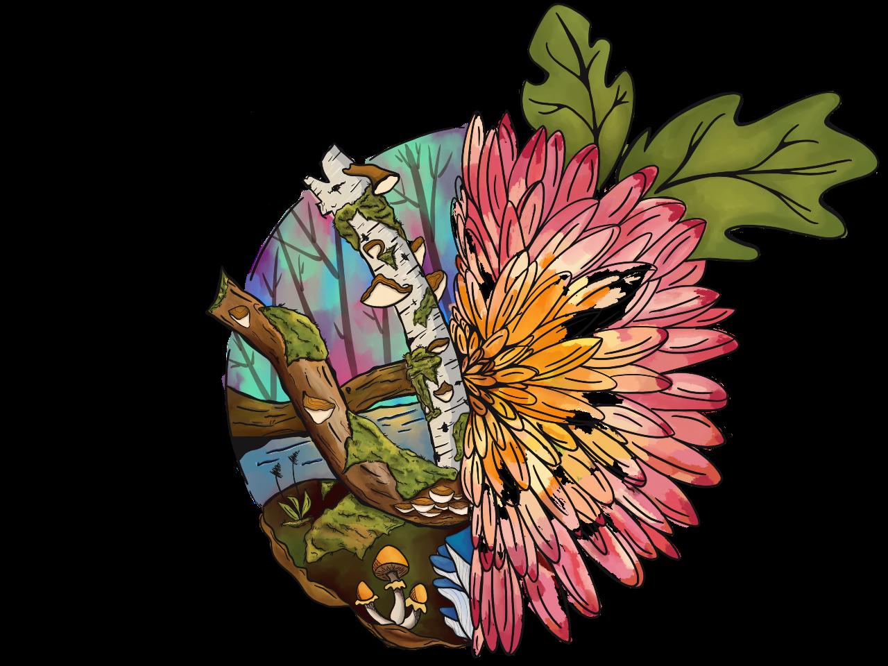 illustration of mums, mosses and mushrooms