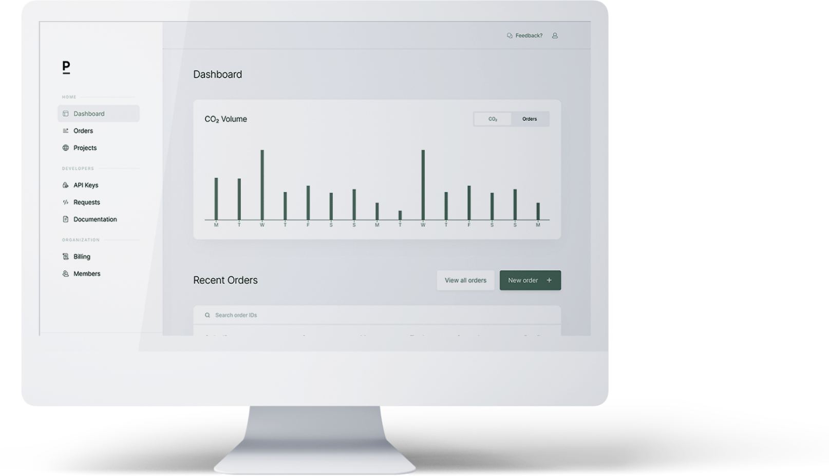 The Patch dashboard enables you to bulk purchase offsets as well manage your portfolio of carbon removal.