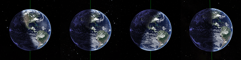 Summer Solstice / Vernal Equinox / Winter Solstice / Fall Equinox (NASA Blue Marble Next Generation)