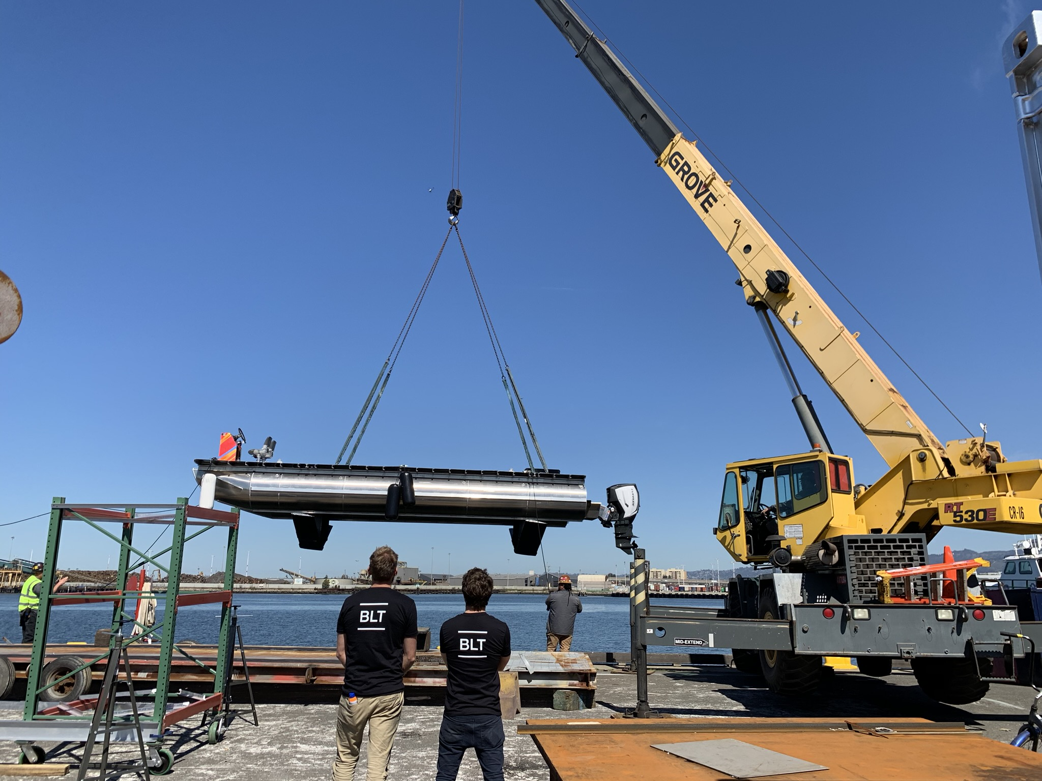 Hydrofoil prototype being carried by crane