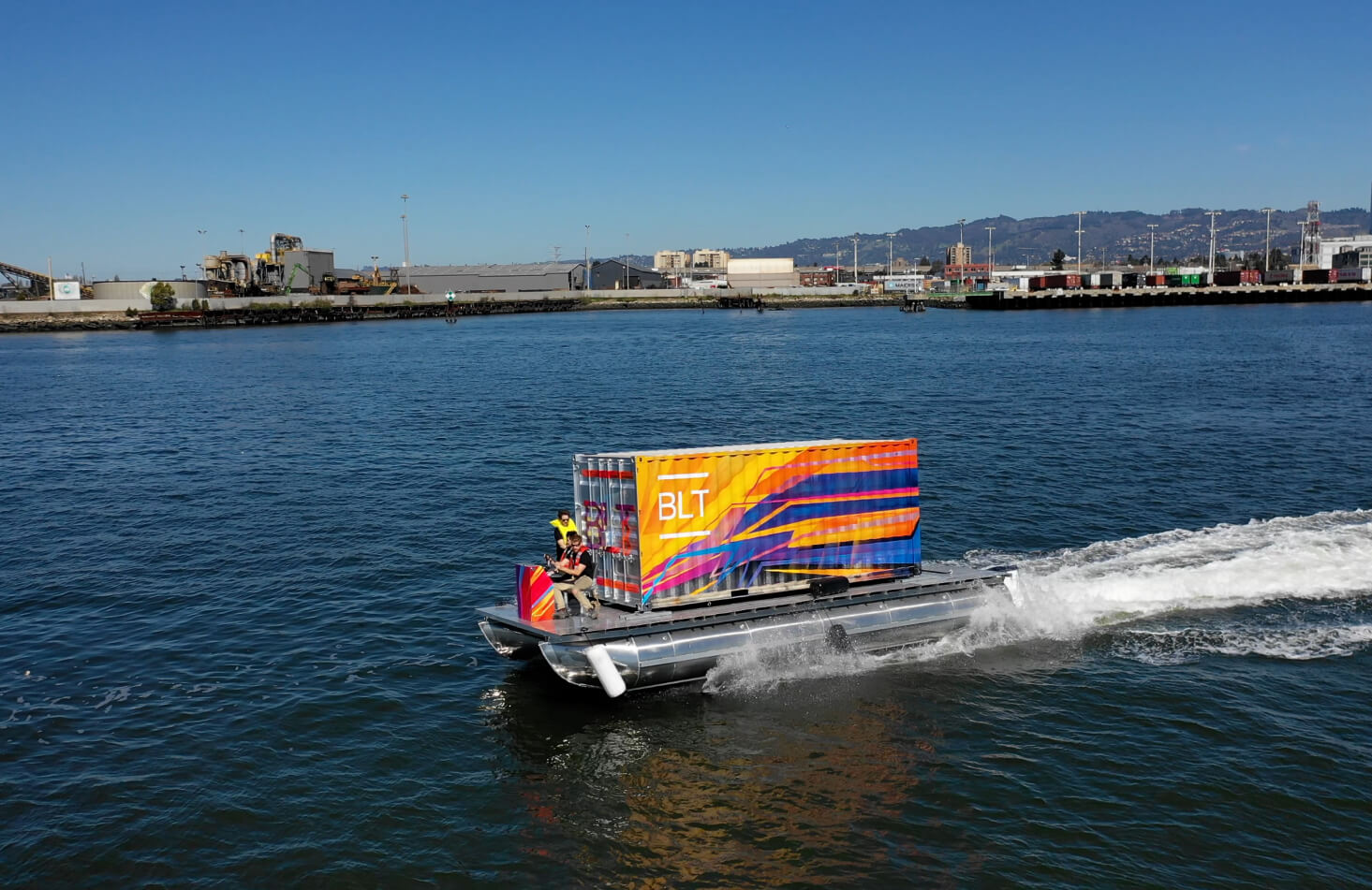 Hydrofoil prototype carrying shipping container