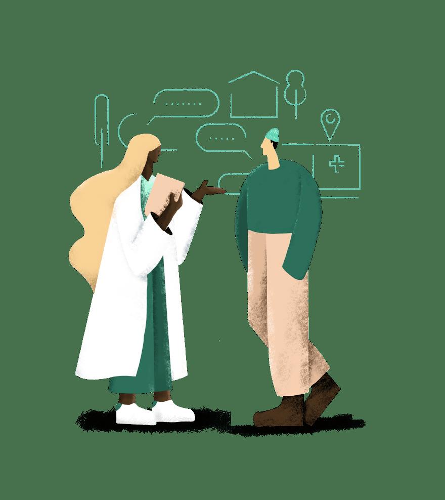 Illustration of 2 people
