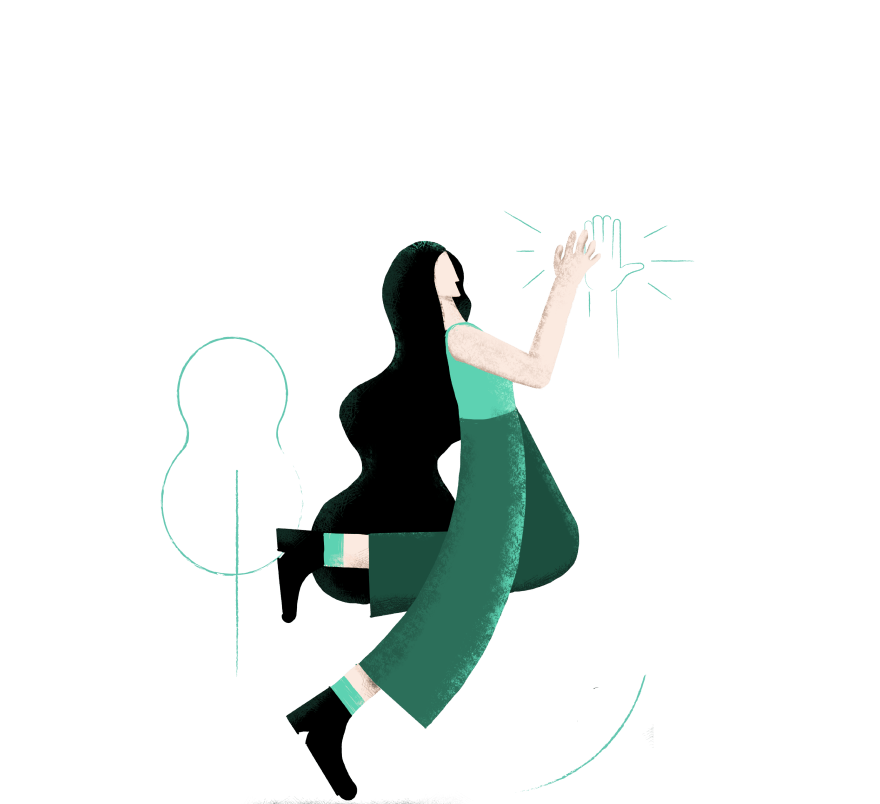 Illustration of woman giving a high-five