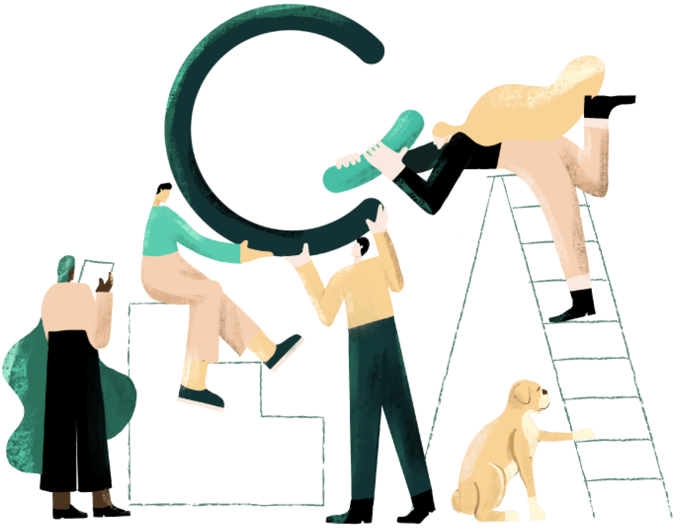 Illustration of multiple people collaborating