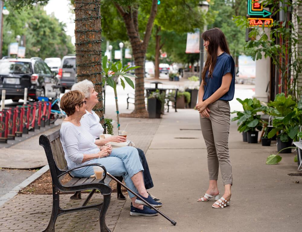 Katie loves meeting new people in her community.