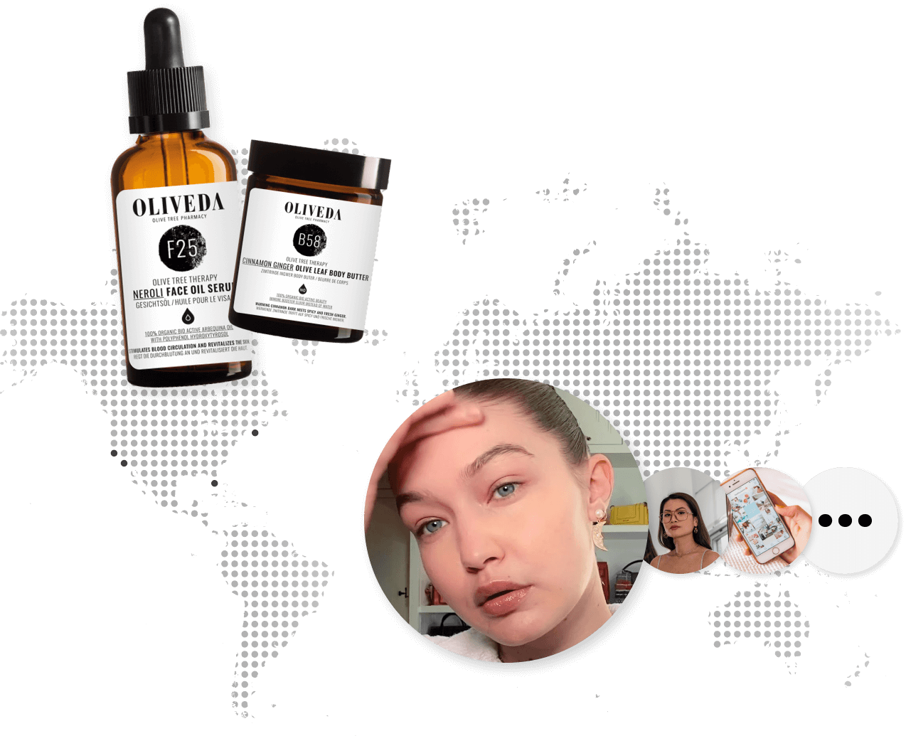 World map showing new US showcase locations in San Francisco, Los Angeles, Miami, and NYC, with a photo of Gigi Hadid and Oliveda products