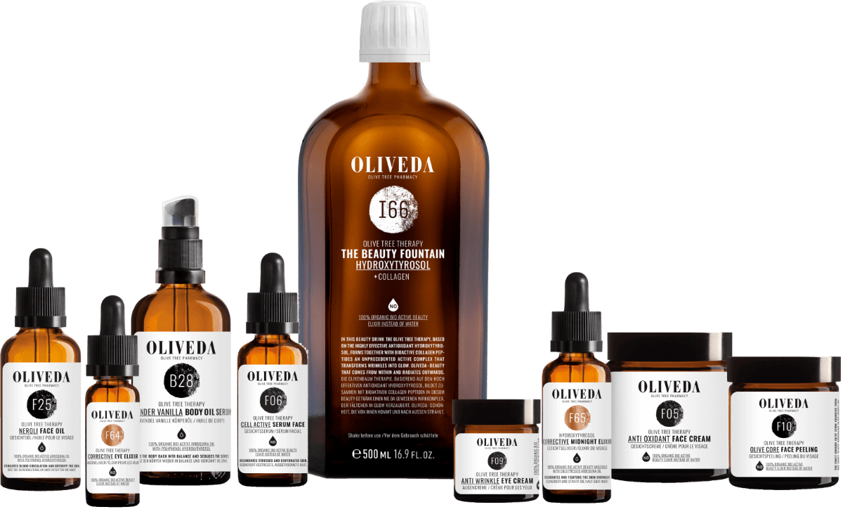 Range of Oliveda products by Olive Tree People