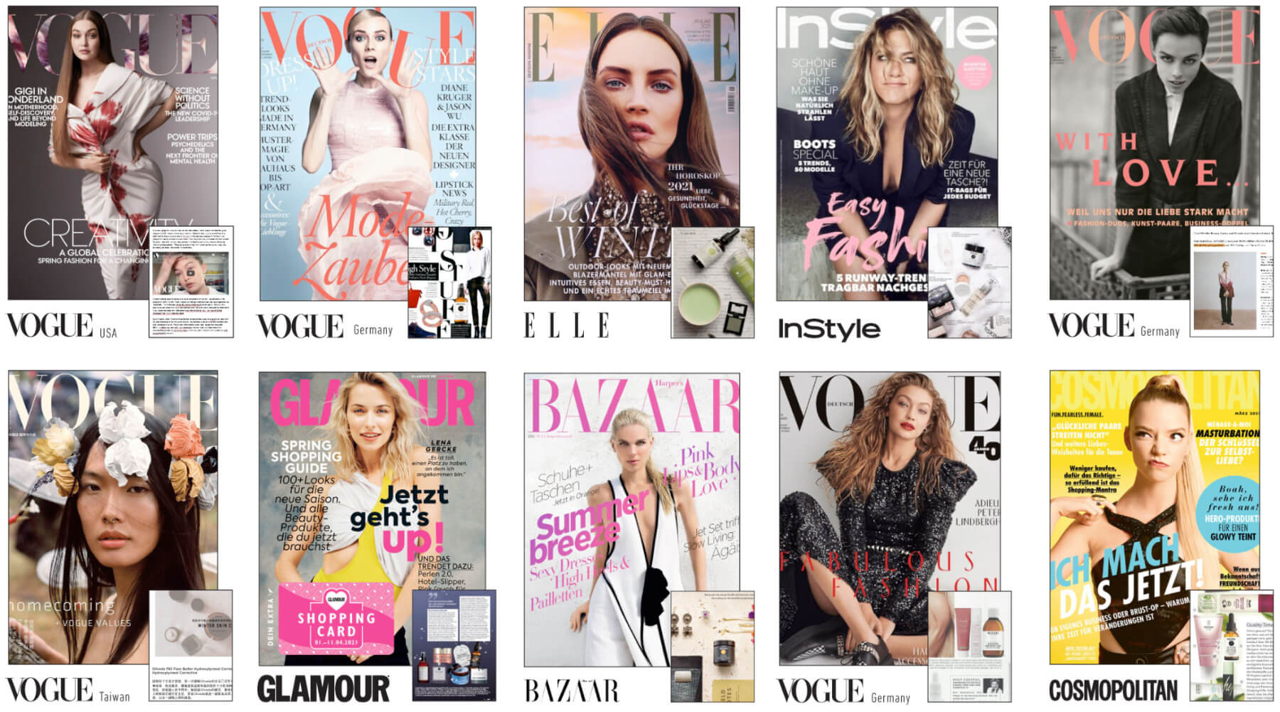 Listing of publications featuring Olive Tree People products, including Glamour, Cosmpolitan, and Vogue