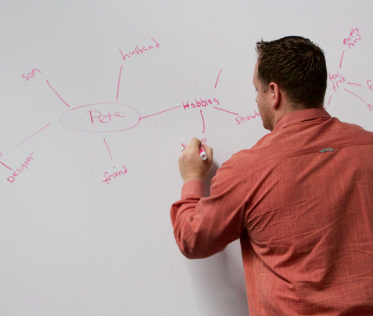 Pete Ideating on a white board