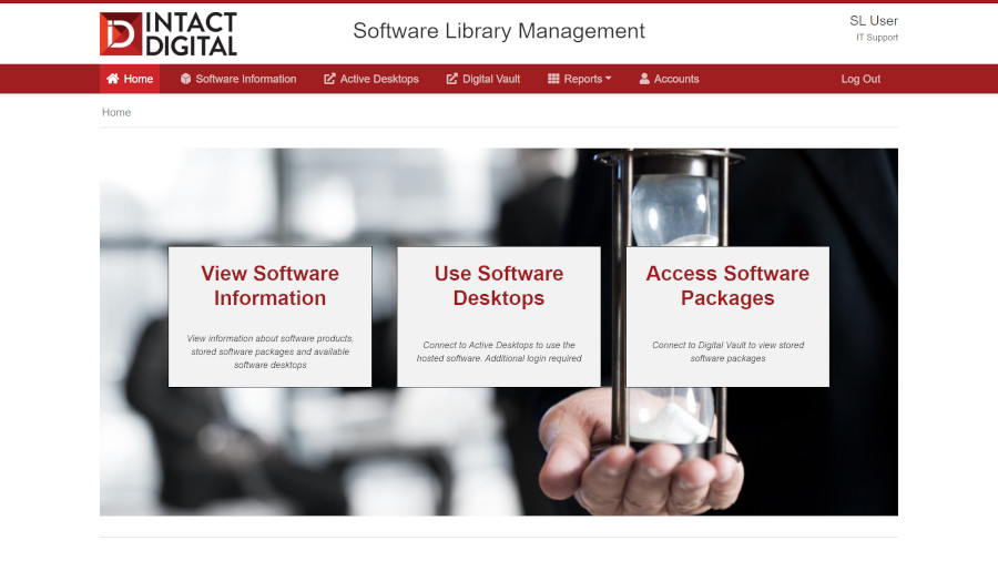 Screenshot of INTACT Software Library Management Portal